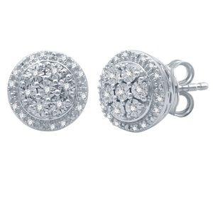 1/10 ct tw diamond & sterling silver earrings